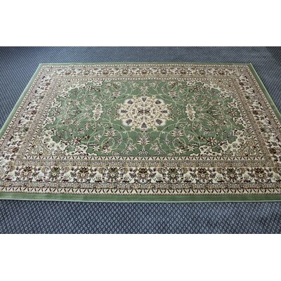 Bonsai Traditional Oriental Green Area Rug Rug Size: Rectangle 54 x 75
