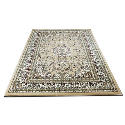 Roksanda Traditional Oriental Ivory Area Rug Rug Size: Rectangle 54 x 75