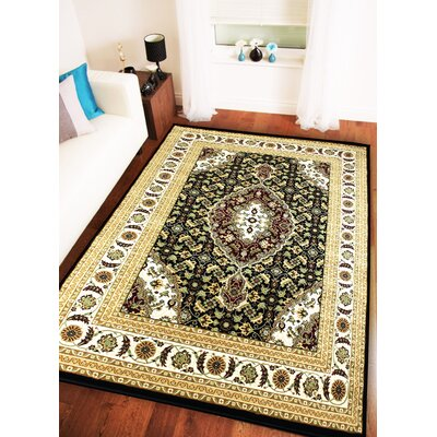 Boody Traditional Oriental Black/Ivory Area Rug Rug Size: Rectangle 54 x 75