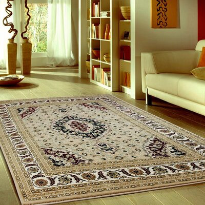 Boody Traditional Oriental Beige/Black Area Rug Rug Size: Rectangle 54 x 75