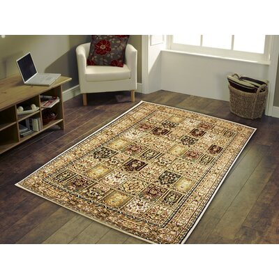 Linde Oriental Beige Area Rug Rug Size: Rectangle 54 x 75