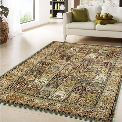 Boody Traditional Oriental Green Area Rug Rug Size: Rectangle 710 x 106