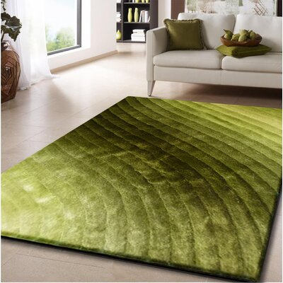 Crisman Hand Tufted Green Area Rug Rug Size: Rectangle 76 x 103