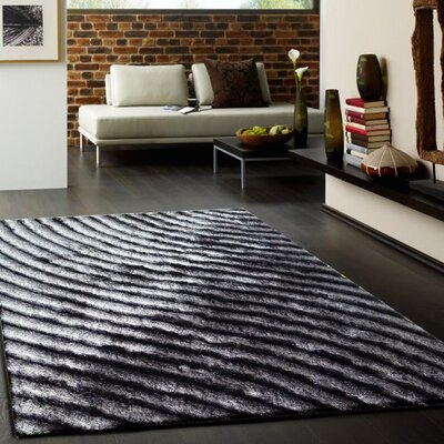 Solid Shaggy Hand-Tufted Gray Area Rug Rug Size: Rectangle 76 x 103