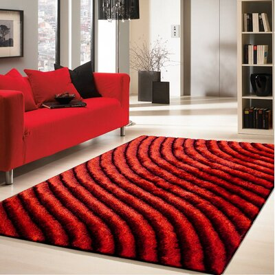 Crisman Hand Tufted Red Area Rug Rug Size: Rectangle 5 x 7
