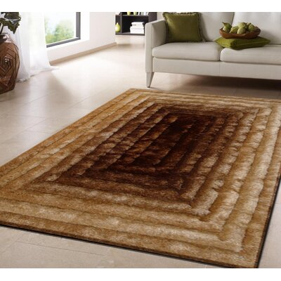 Crisman Hand Tufted Gold Brown Area Rug Rug Size: Rectangle 76 x 103
