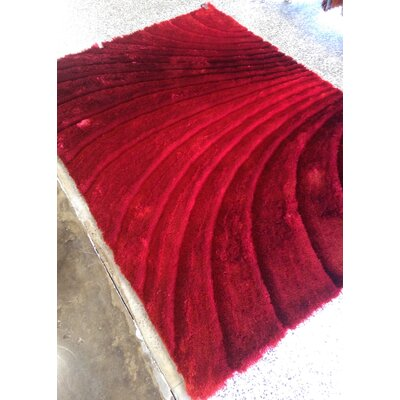 Halterman Solid Shaggy Hand-Tufted Red Area Rug Rug Size: Rectangle 76 x 103