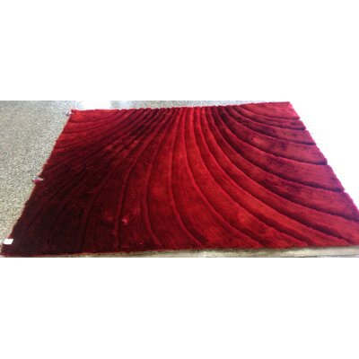 Pavonia Hand-Tufted Red Area Rug Rug Size: Rectangle 76 x 103