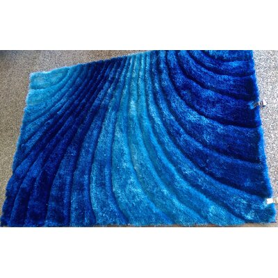 Halliburton Solid Shaggy Hand-Tufted Blue Area Rug Rug Size: Rectangle 5 x 7