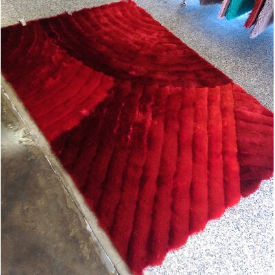 Halpin Solid Shaggy Hand-Tufted Red Area Rug Rug Size: Rectangle 76 x 103