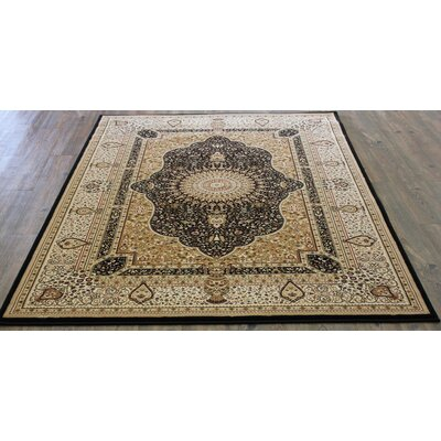 Bonifacio Traditional Contemporary Oriental Black Area Rug Rug Size: 53 x 75