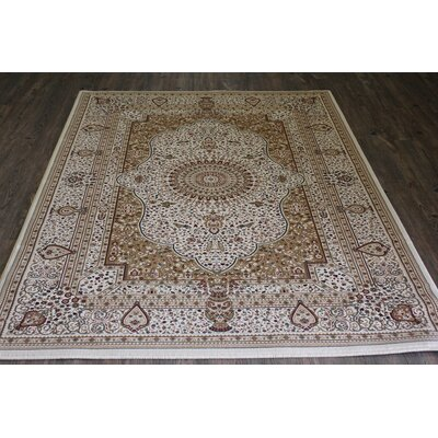 Bonifacio Traditional Contemporary Oriental Cream Area Rug Rug Size: 53 x 75