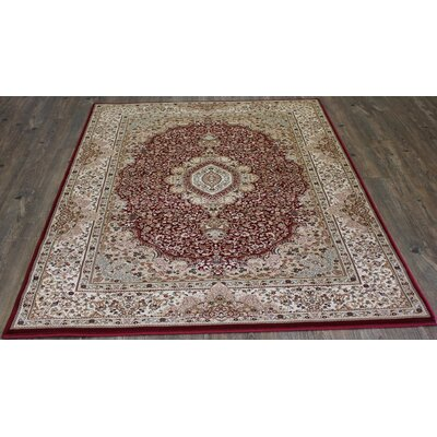 Bonifacio Traditional Contemporary Oriental Red Area Rug Rug Size: 53 x 75