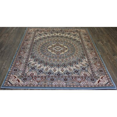 Linde Contemporary Oriental Blue Area Rug Rug Size: Rectangle 54 x 75