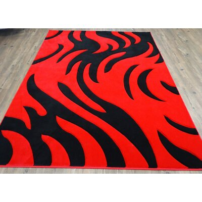 Haigler Red Area Rug Rug Size: Rectangle 54 x 75