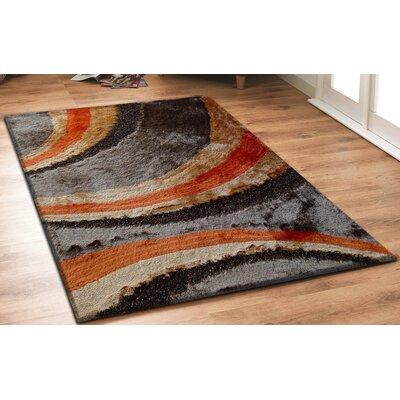 Hand-Tufted Orange/Brown Area Rug