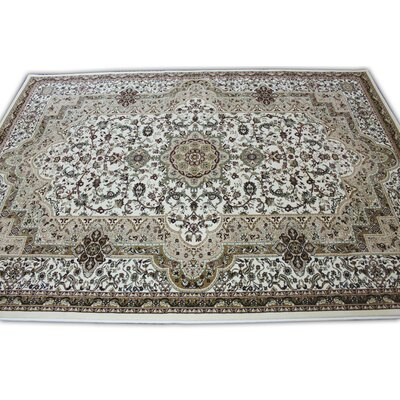 Linde Oriental Ivory Area Rug Rug Size: Rectangle 54 x 75