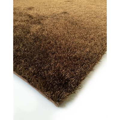 Heineman Solid Shag Hand-Tufted Brown Area Rug Rug Size: Rectangle 76 x 103