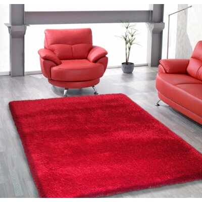 Shaggy Hand Tufted Red Area Rug
