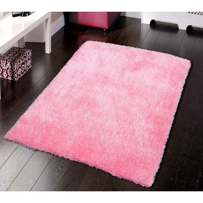 Krause Solid Shaggy Hand-Tufted Pink Area Rug
