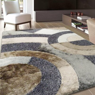 Yarbrough Hand-Tufted Beige/Gray Area Rug Rug Size: Rectangle 76 x 103
