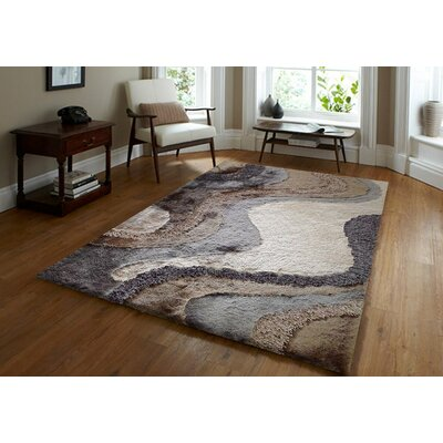 Yarbrough Hand-Tufted Beige/Dark Gray Area Rug Rug Size: Rectangle 7'6