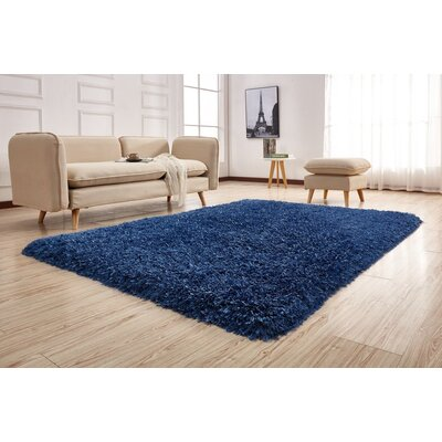 Crystal Shag Vibrant Hand-Tufted Blue Area Rug