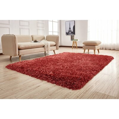 Pawlak Hand-Tufted Peach Area Rug Rug Size: Rectangle 76 x 103
