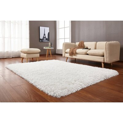 Crystal Shag Vibrant Hand-Tufted White Area Rug