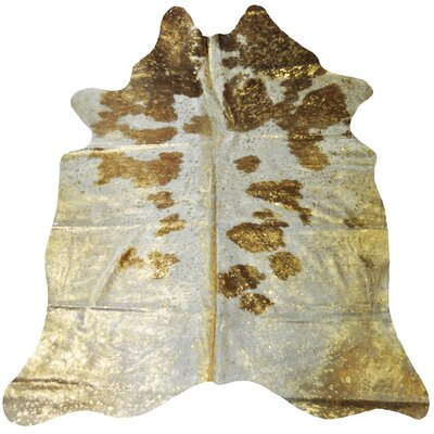 Jaelynn Hand-Woven Cowhide Gold/White Area Rug
