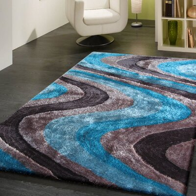 Living Shag Blue/Gray Rug Rug Size: 76 x 102