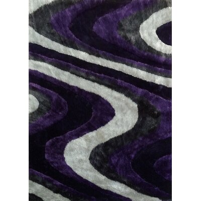 Sirard Hand-Tufted Gray/Purple Area Rug Rug Size: Rectangle 76 x 103
