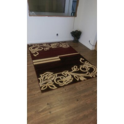 Doreeann Contemporary Burgundy/Beige Area Rug