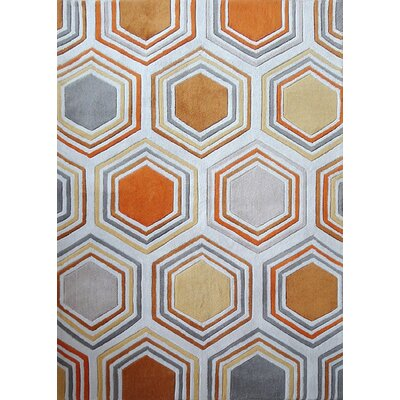 Celentano Transitional Hand-Tufted Gray/Orange Area Rug