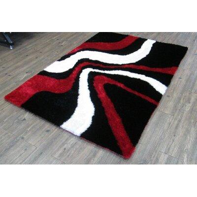 Lo-La Hand-Tufted Black/Red Indoor/Outdoor Area Rug Rug Size: 8 x 11