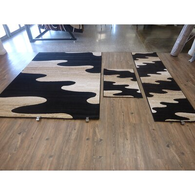 LifeStyle Black Indoor/Outdoor Area Rug Rug Size: 5 x 8
