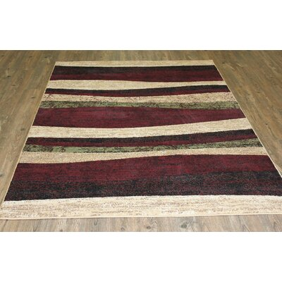 LifeStyle Beige/Burgundy Area Rug