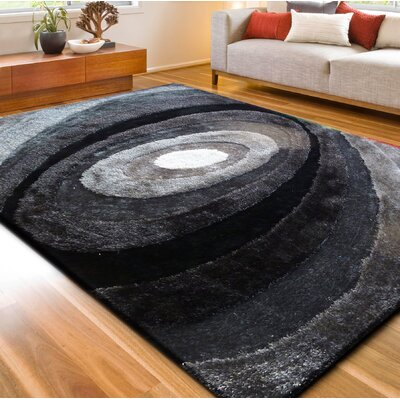 Living Shag Black/Gray Rug Rug Size: 76 x 102