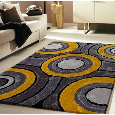 Living Shag Yellow/Gray Rug Rug Size: 5 x 7