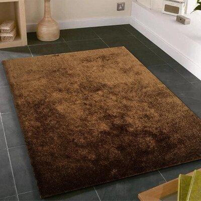 Amore Shag Solid Brown Area Rug Rug Size: 76 x 102