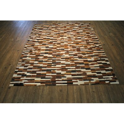 One-of-a-Kind Cincinnati Authentic Handmade Cowhide Brown/Beige Area Rug