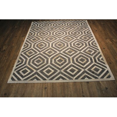 One-of-a-Kind Knopf Hand-Woven Cowhide Gray/Beige Area Rug