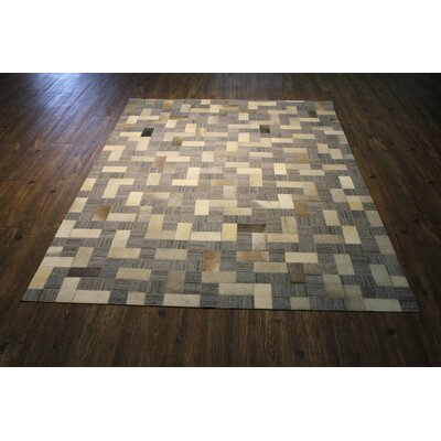 One-of-a-Kind Kopf Hand Woven Slate Gray/Beige Area Rug