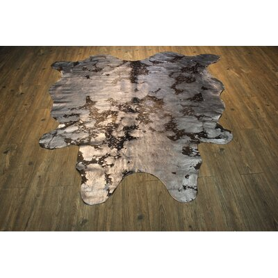 Augustine Hand Woven Cowhide Metallic Silver/Black Area Rug