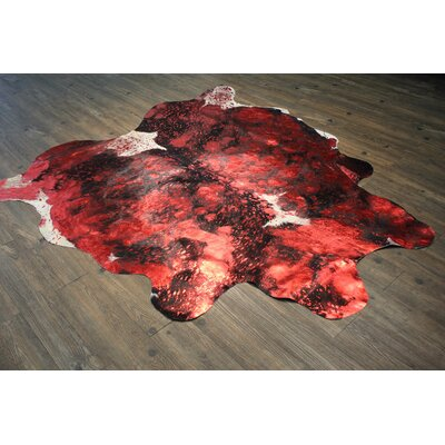 Vivianne Premium 100% Hair on Hide Leather Hand-Woven Red Metallic Area Rug