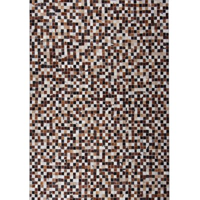 Kelton Hand-Woven Dark Brown/White Area Rug