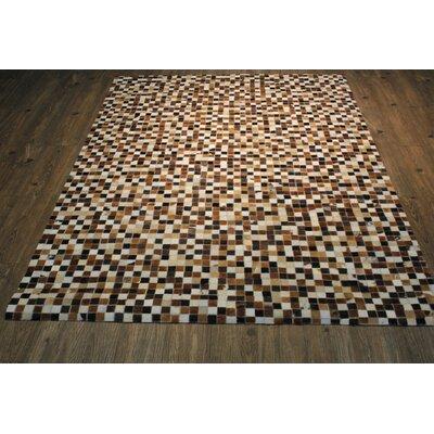 Kelton Hand-Woven Dark Brown/White Area Rug