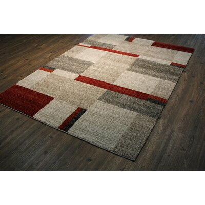 Hirschman Beige/Red Area Rug Rug Size: Rectangle 54 x 75