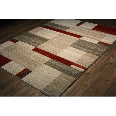 Francisca Beige/Red/Ivory Area Rug Rug Size: 8 x 11