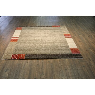 Hirschman Brown/Beige Area Rug Rug Size: Rectangle 710 x 106